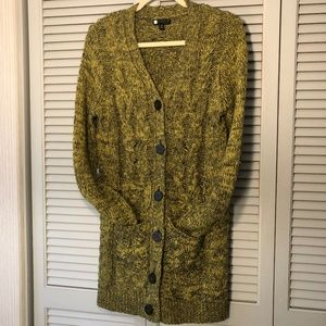Carole Little yellow-green and grey wool sweater